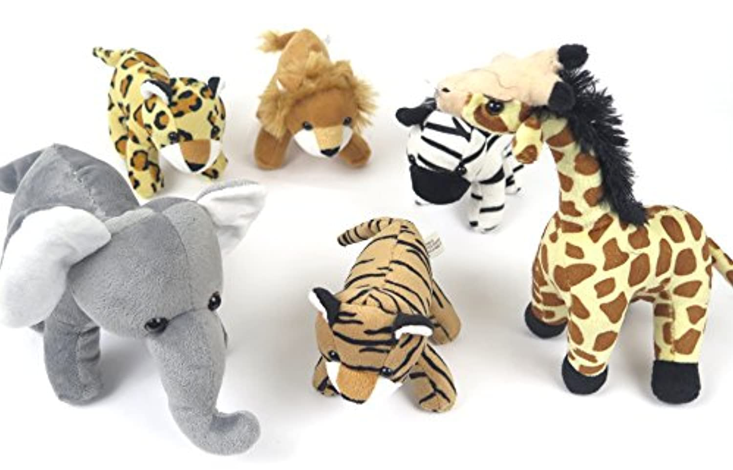Children's plush toddler preschool and baby Toys. kids set Includes 6 Wildlife Animals .