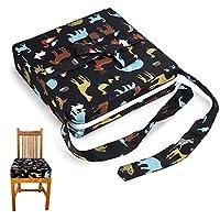 Sumnacon 食事 クッション こども 座布団 椅子用 クッション こども 高さ調節 チェアクッション 子供 動物の柄 ひも付き (ブラック)