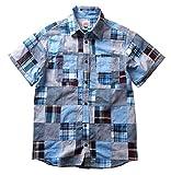(ビルバン)BILLVAN シャツ インド綿マドラス パッチワーク半袖シャツ メンズ アメカジ M インディゴ