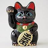 招き猫 黒 小判 6号 右手 【箱入り】 常滑焼