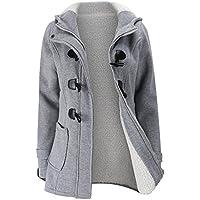 FANTIGO Women's Casual Wool Blended Classic Hooded Zipper Pea Coat Warm Trench Jacket
