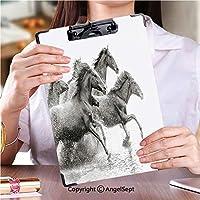 印刷者 クリップボード 用箋挟 クロス貼 A4 短辺とじ 作業用ペーパーホルダー水を実行している野生の馬の群れストック画像 (2パック)