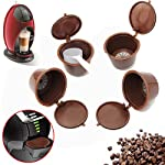 ANPHSIN 4 Packs Dolce Gusto Capsule Coffee Filters- Refillable Capsules Pods with Coffee Spoon in One Set (brown)