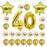 バルーンセット、ローズゴールド16 21 30 40 50 60thお誕生日おめでとうローズゴールドスター紙吹雪40インチ番号箔バルーン誕生日パーティーの装飾用品24個/セット