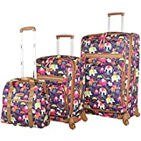 Lily Bloom Luggage 3 Piece Softside Spinner Suitcase Set Collection