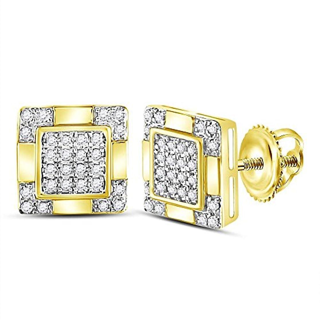 格納計画的クラシカルRoy Rose Jewelry 10K イエローゴールド メンズ ラウンドダイヤモンド スクエア クラスタッド ピアス 1/6カラット tw