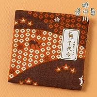 遊 中川千代布秋の小紋春日山文ガーゼハンカチCotton handkerchief, Autumn pattern