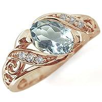 プレジュール アラベスク アクアマリン リング 唐草 K18ピンクゴールド 爪なし 指輪 リングサイズ15号