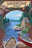 Sandpoint、アイダホ–Cabin On The Lakeモンタージュ 24 x 36 Giclee Print LANT-80795-24x36