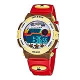 Aubigカラフル腕時計アウトドアスポーツ男の子女の子LEDデジタルアラームストップウォッチ防水学生腕時計ドレスギフト腕時計 レッド
