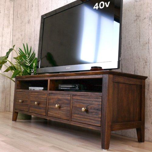 アジアン家具 アジアン チーク TV台幅120cm 40型地デジ液晶テレビ対応 G674KA ローボード テレビボードAV収納 木製 リビングボード