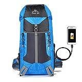 登山 リュック バックパック リュックサック ハイキングバッグ リュックデイパック USB充電ポート搭載 防水 レディース メンズ アウトドア ナイロン ブルー