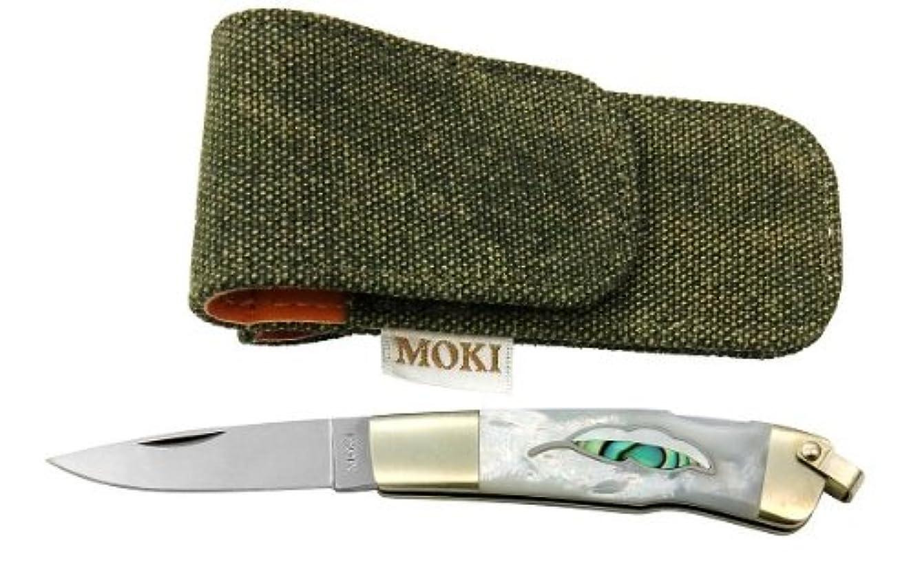 鈍い食品メガロポリスモキナイフ MOKI  MK-810EL リーフ 白蝶貝(白蝶貝+あわび) ハンドル:7cm、ブレード:4.5cm VG-10
