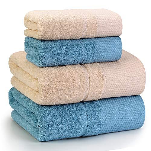 バスタオル フェイスタオル 4枚セット 100%綿 大判 タオル ホテル仕様 吸水速乾 ふわふわ 柔らかい肌触り ...
