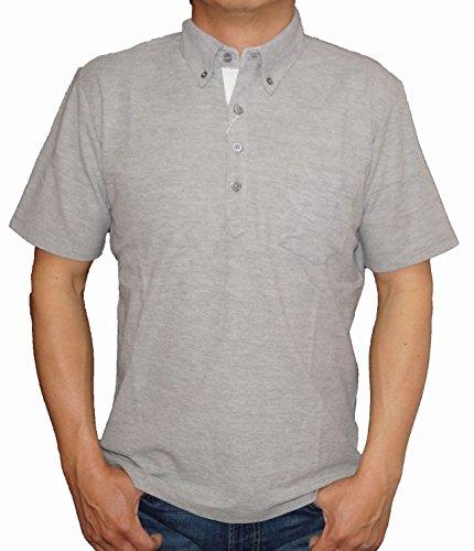 コムサイズム COMME CA ISM 半袖 ポロシャツ グレー 前立て ドット ボタンダウン メンズ (LL)