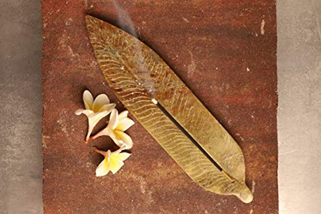 ウガンダ手首壁紙GoCraft アンティーク ソープストーン お香 アロマセラピー用リーフ型