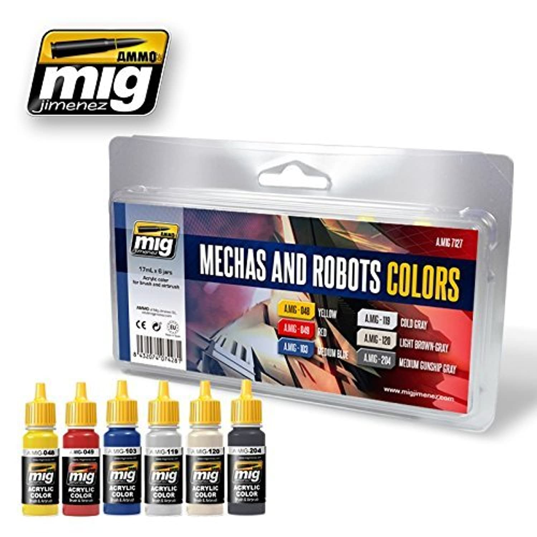 AmmoのMig Robots & Mechas色アクリルセット6 Jars 17 ml # 7127
