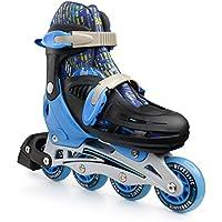 プレミアムローラースケートby新しいBounce、4ホイールInlineスピードスケートのkids|アウトドアスケート初心者の方& Advanced | 4サイズ|pinkまたはブルー(ブルー, Extra Small )