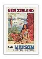 ニュージーランド - マトソン航海 - 蒸気船マリポサ号, 蒸気船モントレー号 - マオリ族の女性がファカイロ(彫像)の前に座る - ビンテージな遠洋定期船のポスター によって作成された ルイ・マクィヤール c.1955 - キャンバスアート - 69cm x 102cm キャンバスアート(ロール)