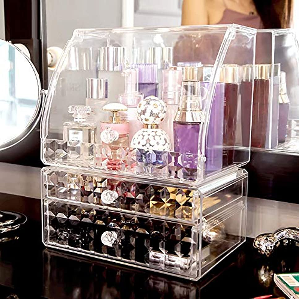 うねるキャメル歯車化粧オーガナイザー化粧品のオルガナイザーの化粧台の口紅のスキンケアプロダクト卓上ラック、大容量の化粧品の収納箱