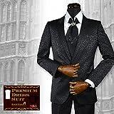 (ブラックバリア) BLACK VARIA スーツ 豹柄 ヒョウ柄 ジャガード 日本製 2ピース ドレススーツ パーティー ブラック set1528 L