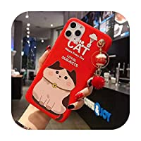 iPhone 11 Proの場合Max Lucky Catケース、かわいいFortune Catの裏表紙iPhone 11 X XS Max XR 6 7 8plus招き猫Shell +ペンダント-As shown in9-For iP 11 pro Max