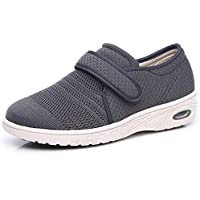 W&Le-Slippers Women's Wide Width Walking Shoes with Adjustable Closures, Air Cushion Breathable Mesh Sneakers for Elderly Diabetic Edema Swollen Feet