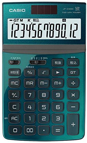 カシオ 電卓 ジャストタイプ 12桁 グリーン JF-Z200GN-N