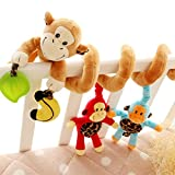 Happy Cherry 超かわいい ベビーベッドハンギング 人形 ベビーキッズベアー装飾おもちゃ 猿 カラフル 出産 誕生日 プレゼント 音楽 ピンク