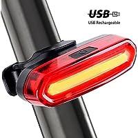 Ecat USB充電式自転車テールライト - スーパー明るい120ルーメン防水自転車リアライト6つのモードで、簡単なインストールは、赤色/青色のライトをサイクリングの安全のために