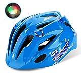 Shinmax子供ヘルメット,ledライト付き s m l xlサイズ調整可能 幼児 キッズ 小学生 こども用 超軽量 自転車 スケートボードキックボード、インラインスケート、BMX、MTBなど適用 かわいいスポーツヘルメット (青)