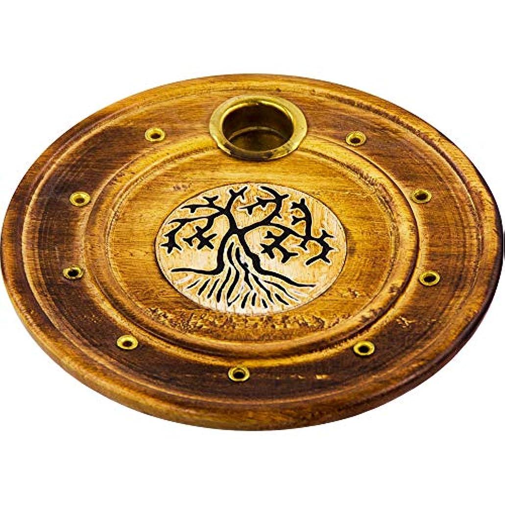 区別する専門知識派手The New Ageソース木製ラウンド円錐Burner Tree of Life各