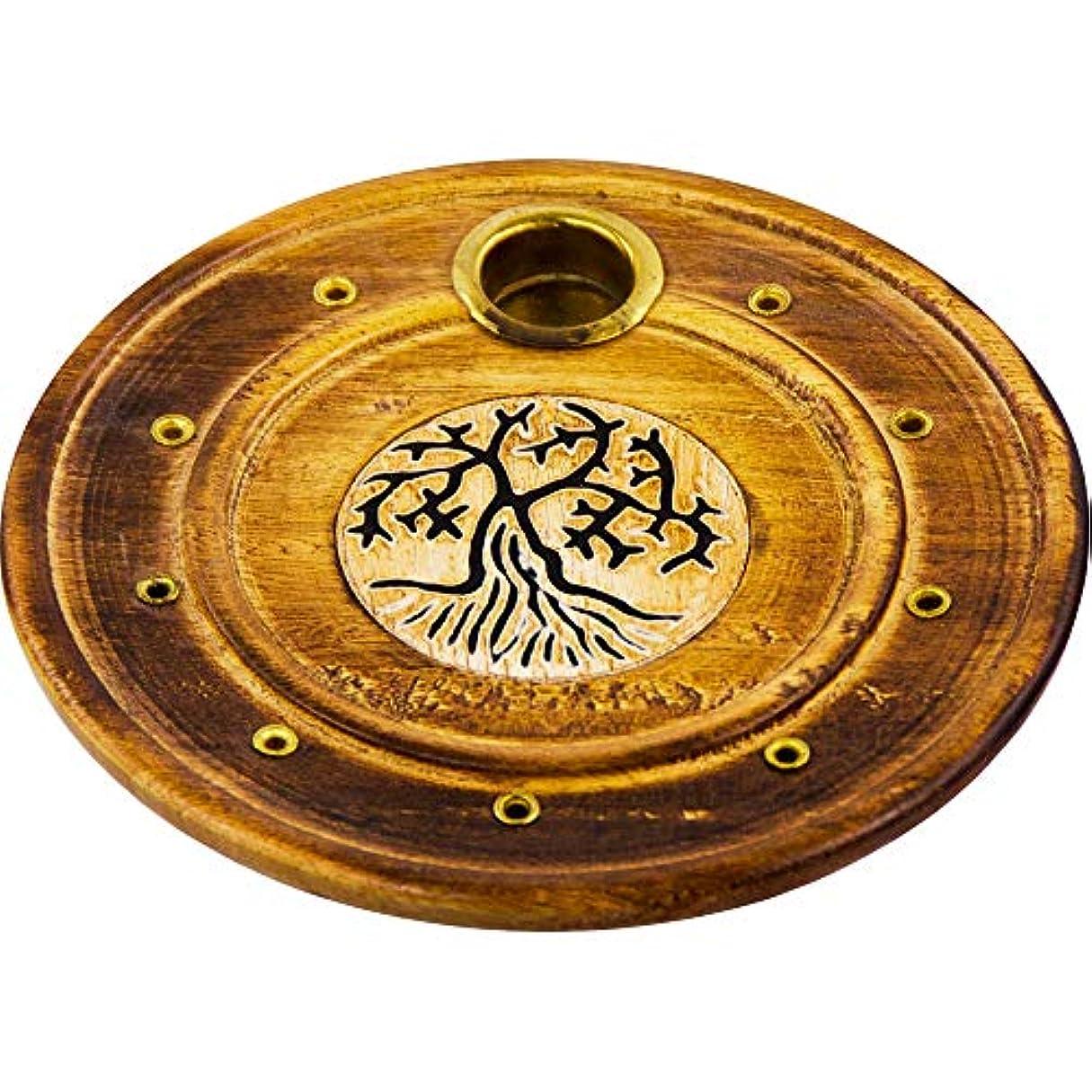翻訳する商業のと遊ぶThe New Ageソース木製ラウンド円錐Burner Tree of Life各