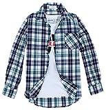 (クラベルテ) crbelte メンズ チェック 柄 シャツ長袖 ネルシャツ 選べる8色 (L, 薄緑)