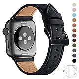 WFEAGL コンパチブル Apple Watch バンド,は本革レザーを使い、iWatch Series 5/4/3/2/1、Sport、Edition向けのバンド交換ストラップです コンパチブル アップルウォッチ バンド(42mm 44mm ,黒 バンド+黒 四角い バックル)