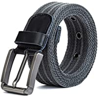 Men's Canvas Belt Plus Size Casual Belt Tip Buckle Heavy-duty,Jeans Belt (Color : Gray, Size : 150cm)