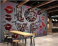 Weaeo カスタム壁紙ラブリッププリントヨーロッパのレトロな壁画ホテルKtv、ツーリング家の装飾テレビの背景3D壁紙-120X100Cm