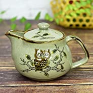 【洗いやすい茶こし網付】 九谷焼 ポット 急須 ふくろう 陶器 和食器 茶器 日本製