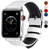 全7色 Apple Watch バンド ベルト Fullmosa Apple Watch Series 0 1 2 3 バンド 本革レザー ベルト交換用ラグ付き アップルウォッチ ホワイト42mm