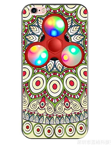 日本未発売 SPRING COME®正規品 [LEDハンドスピナー付き民族風PCスマホンケース」LED 光る 華やか 豪華 ピカピカ 高回転 耐久フォーカス玩具 iphone 5/SE /IPhone6s iPhone6 PLUS/ iphone7 7s 軽量 ウルトラ スリム 超薄型 プラスチック メッキ 360度保護 全面的保護機能  Hand Spinner Fidget Spinner ハード バック ケース アイホン5 アイホンSE / アイフォン6s / 6アイフォン6 / 6s / 7/7プラス カバー スマホケース スマホカバー 超薄 軽量 プラスチック製 アイホン6s プラス カバー アイフォーン (アイホン6/6Sプラス兼用, 1) [並行輸入品]
