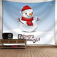 クリスマスの雪だるまタペストリー掛け布団壁アートの壁の装飾3Dデジタル印刷壁画のテーブルクロステレビの壁の壁カバーホーム寝室居間児童の部屋タペストリー (Color : 035)