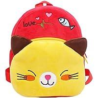 LUOEM 幼児リュック アニマルスクールバッグ 男女兼用 子供 可愛い猫 (赤色)