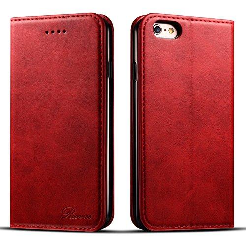 iphone6s ケース 手帳型 iphone6ケース 手帳 Rssviss 耐衝撃 耐摩擦 高級PUレザー 財布型 アイフォン6sケース レザー カバー カード収納 マグネット スタンド機能 人気 おしゃれ [iPhone 6 /iPhone 6s 4.7 inch 適応]-レッド