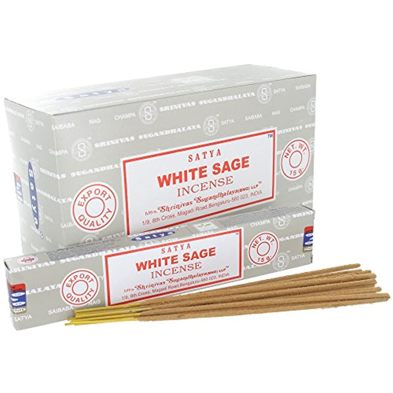 レコーダー縁石著者Satya White Sage Incense Sticks (Box) 15g X 12 = 180g