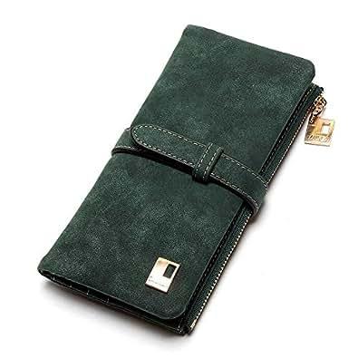 Naswi 長財布 二つ折り レディース 多機能 カード11枚収納 大容量 RFID コンパクト 小銭入れ 人気 かわいい 5色-グリーン