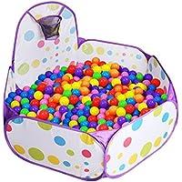 XBL ボールプール 子供用 ボールハウス プレイハウス 屋内遊具 知育玩具 おもちゃ ミニゴール付き 折りたたみ式 収納バッグ付き (パープル)