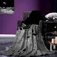 "smallbeefly Moon Throw Blanket Big Moon and its reflection on the Sea Open Sky Ethereal図面スタイル暖かいマイクロファイバーすべてシーズン毛布ベッドやソファダークブルーブラックホワイト 50""x30"" fly01-maotan0424-96321C130xK80"