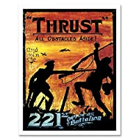 Propaganda War Wwi Canada Thrust Silhouette Bayonet Combat Art Print Framed Poster Wall Decor 12X16 Inch 宣伝戦争カナダシルエットポスター壁デコ