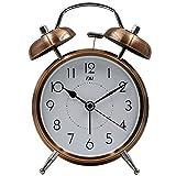TXL ツインベル目覚まし時計 レトロ バックライト付き アンティーク 金属製時計 大音量 アナログ 連続秒針 音がしない 4インチカッパー
