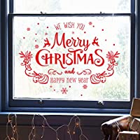 Onlymygodクリスマスの雰囲気のレイアウトショップウィンドウガラスステッカー店ウォールステッカードアステッカー53x47cm